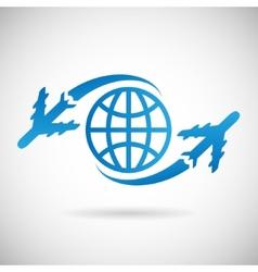 World travel symbol airplane and globe icon design vector