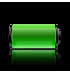 Green battery full charge with lighting vector