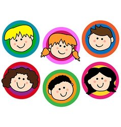 Kids face collection vector