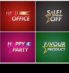 Banner set with star line vector