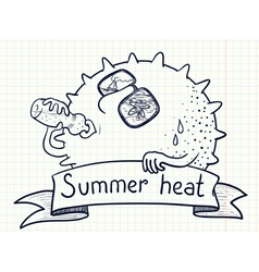 Sun character drinks water vector