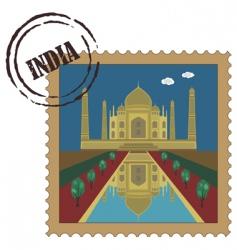 Taj mahal postage stamp vector