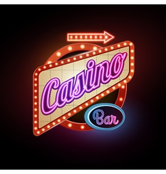 Neon sign casino vector
