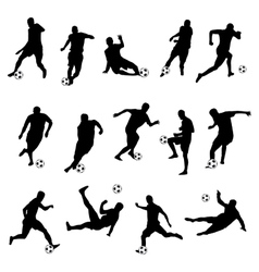 Silhouettes of football players vector