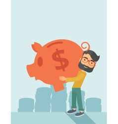 Man with his big piggy bank vector