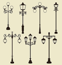 Set of vintage various ornamental streetlamps vector