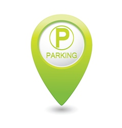 Parking icon on green pointer vector