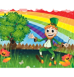 Leprechaun on a spring meadow vector