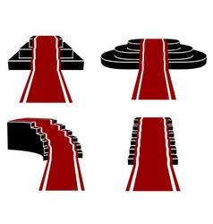 Staircases with red carpet icons set vector
