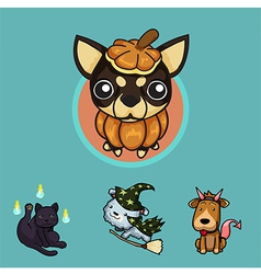 Pet halloween set1 vector