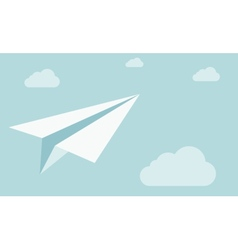 Paper plane on the sky with clouds vector