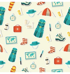 Flat colorful tourist equipment set vector
