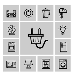 Black home appliances icon set vector