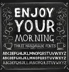 Three hand drawn fonts chalkboard alphabet vector