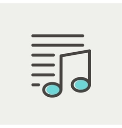 Musical note with lines thin line icon vector