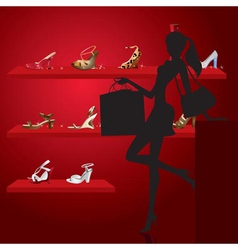 Beautiful woman in shoe shop vector