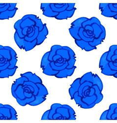 Seamless pattern with blue rose watercolor vector
