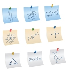 Stickers with pins and different science and vector