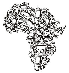 Map of africa with pattern background clouded vector