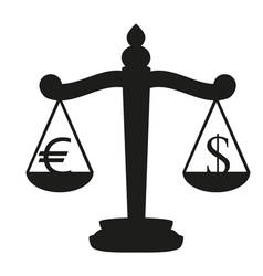 Balance with the currency symbol dollar and euro vector