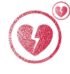 Broken heart simple single color icon isolated on vector