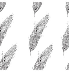 Seamless monochrome pattern with feathers vector