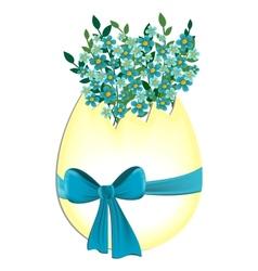 Egg with myosotis flowers vector
