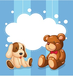 An empty cloud template with stuffed toys vector