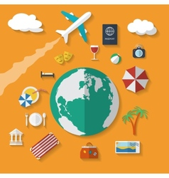 Flat design style modern icons set of vacation vector