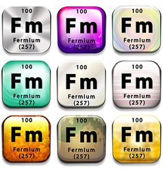 A periodic table button showing fermium vector