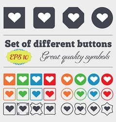 Heart love icon sign big set of colorful diverse vector