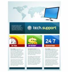 Tech support brochure vector