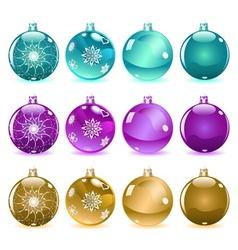 Multicolored christmas balls set 3 of 4 vector