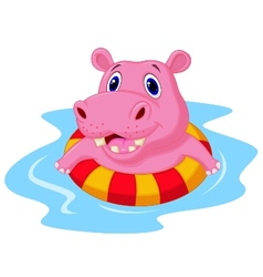 Hippo cartoon floating on an inflatable circle in vector