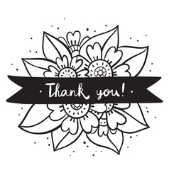Thank you black flowers vector