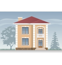 Residential house in beige vector