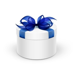 White round gift box with blue ribbon and bow vector