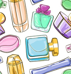 Seamless pattern of perfume bottles vector
