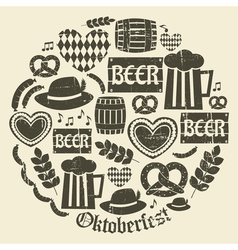 Grungy design oktoberfest icons set vector