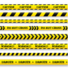 Set of caution tapes vector