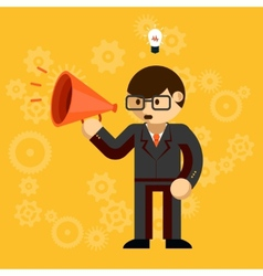 Businessman with a megaphone vector