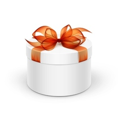 White round gift box with orange ribbon and bow vector