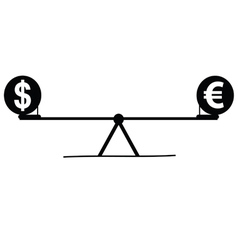 Teeter with euro and dollar vector
