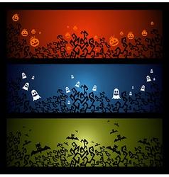 Happy halloween trick or treat web banners set vector