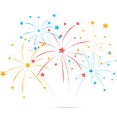 Fireworks with star on white background vector