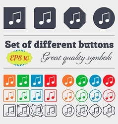 Musical note music ringtone icon sign big set of vector