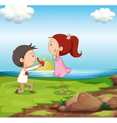 A boy making a marriage proposal at the riverbank vector