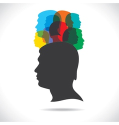 Group of colorful people on head vector