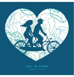 Blue line art flowers couple on tandem vector