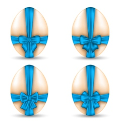 Easter set celebration eggs wrapping blue bows vector